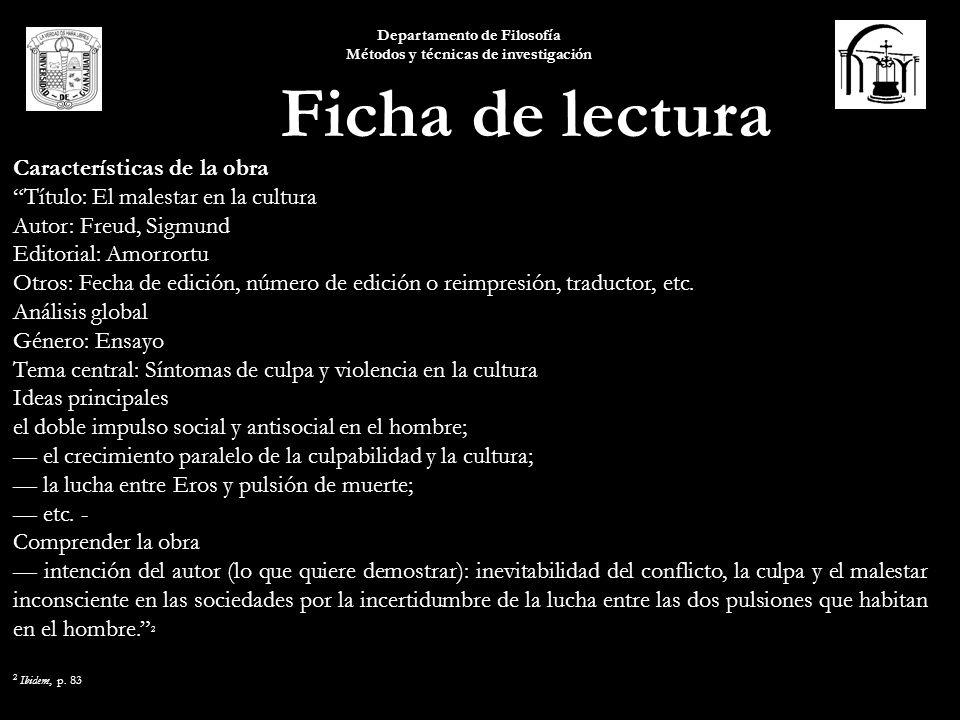 Características de la obra Título: El malestar en la cultura Autor: Freud, Sigmund Editorial: Amorrortu Otros: Fecha de edición, número de edición o r