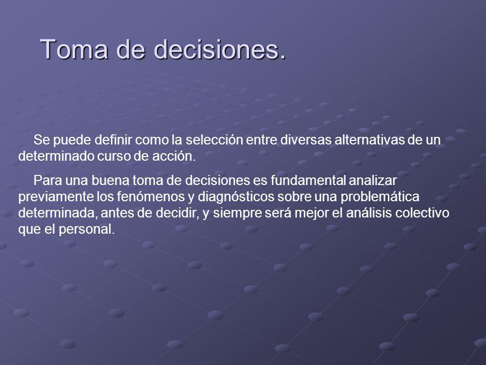 Toma de decisiones. Se puede definir como la selección entre diversas alternativas de un determinado curso de acción. Para una buena toma de decisione