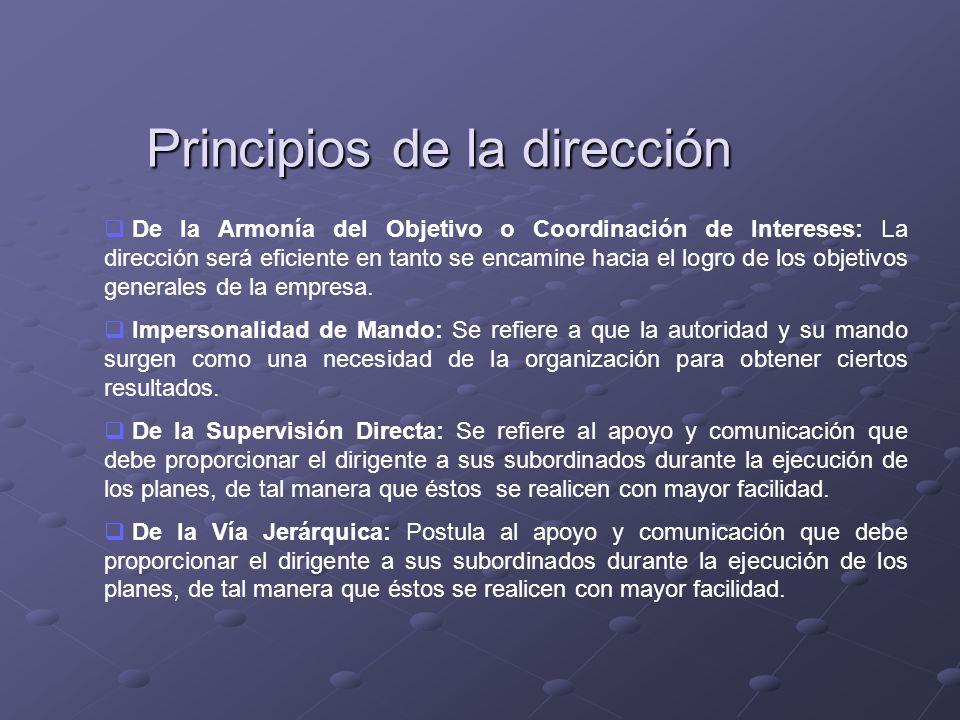 Principios de la dirección De la Armonía del Objetivo o Coordinación de Intereses: La dirección será eficiente en tanto se encamine hacia el logro de