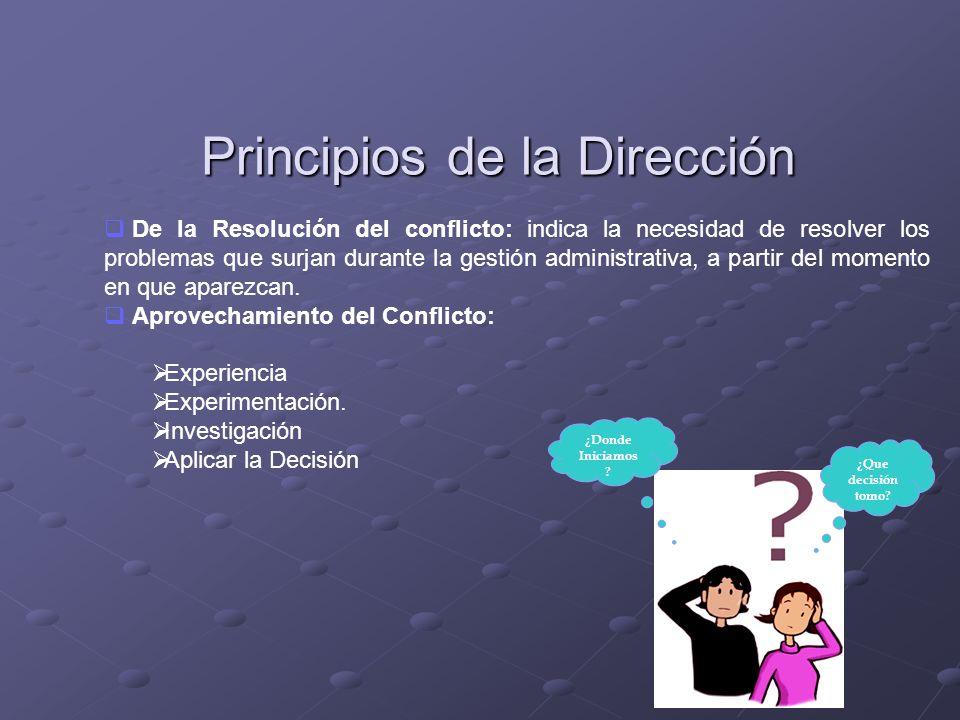 Principios de la Dirección De la Resolución del conflicto: indica la necesidad de resolver los problemas que surjan durante la gestión administrativa,