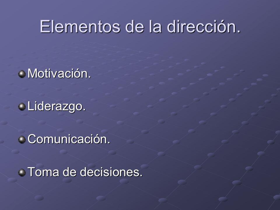 Elementos de la dirección. Motivación.Liderazgo.Comunicación. Toma de decisiones.
