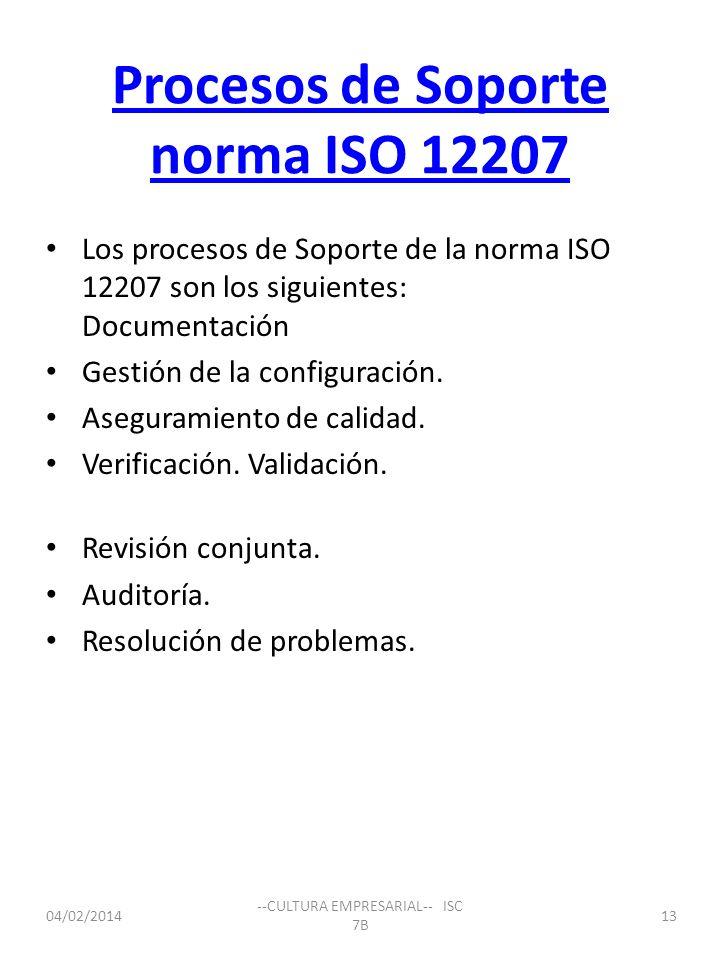 Procesos de Soporte norma ISO 12207 Los procesos de Soporte de la norma ISO 12207 son los siguientes: Documentación Gestión de la configuración. Asegu