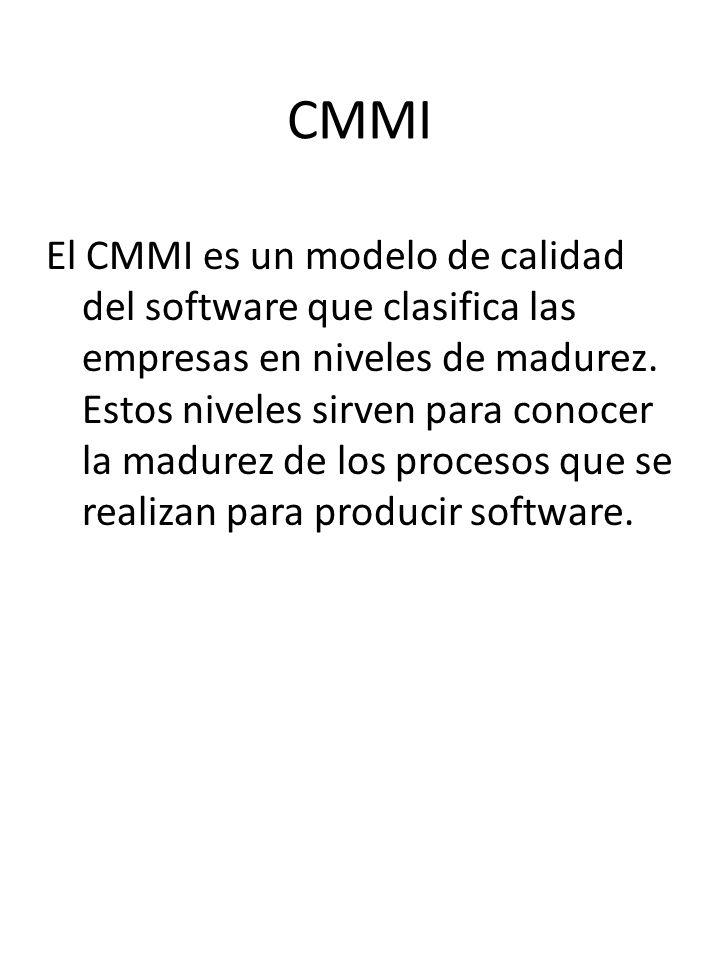 CMMI El CMMI es un modelo de calidad del software que clasifica las empresas en niveles de madurez. Estos niveles sirven para conocer la madurez de lo