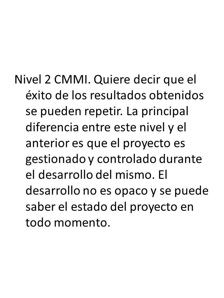 Nivel 2 CMMI. Quiere decir que el éxito de los resultados obtenidos se pueden repetir. La principal diferencia entre este nivel y el anterior es que e