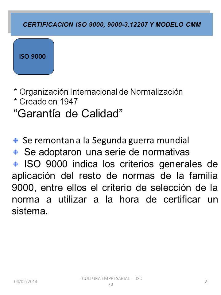 04/02/2014 --CULTURA EMPRESARIAL-- ISC 7B 2 Se remontan a la Segunda guerra mundial Se adoptaron una serie de normativas ISO 9000 indica los criterios