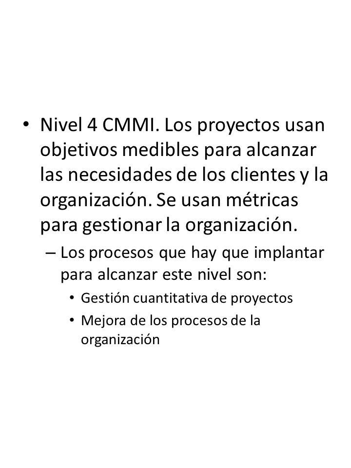 Nivel 4 CMMI. Los proyectos usan objetivos medibles para alcanzar las necesidades de los clientes y la organización. Se usan métricas para gestionar l