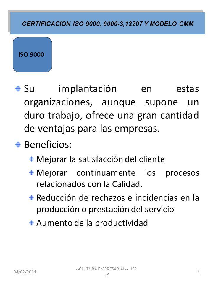Su implantación en estas organizaciones, aunque supone un duro trabajo, ofrece una gran cantidad de ventajas para las empresas. Beneficios: Mejorar la