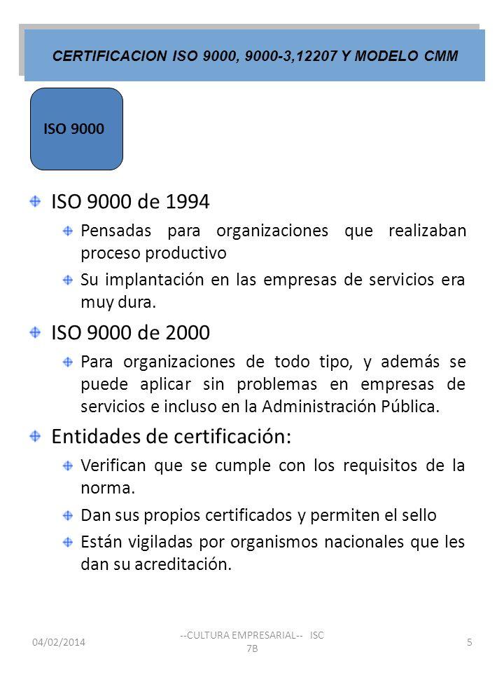 ISO 9000 CERTIFICACION ISO 9000, 9000-3,12207 Y MODELO CMM 04/02/2014 --CULTURA EMPRESARIAL-- ISC 7B 5 ISO 9000 de 1994 Pensadas para organizaciones q