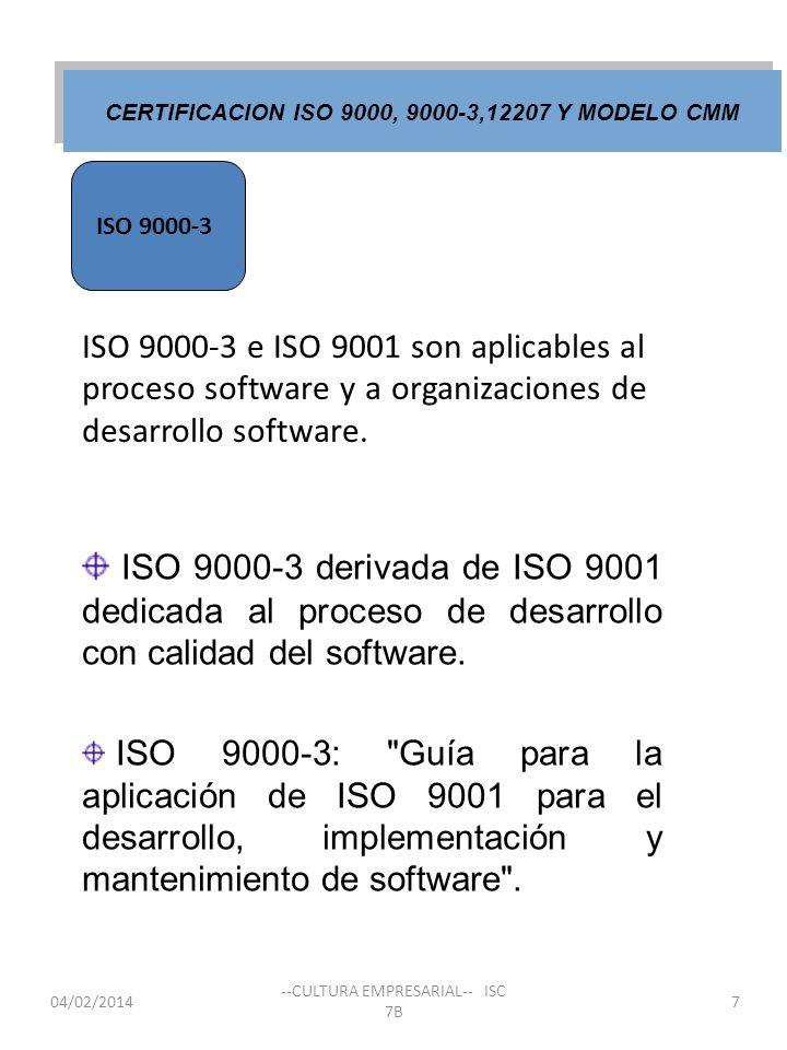 04/02/2014 --CULTURA EMPRESARIAL-- ISC 7B ISO 9000-3 e ISO 9001 son aplicables al proceso software y a organizaciones de desarrollo software. ISO 9000