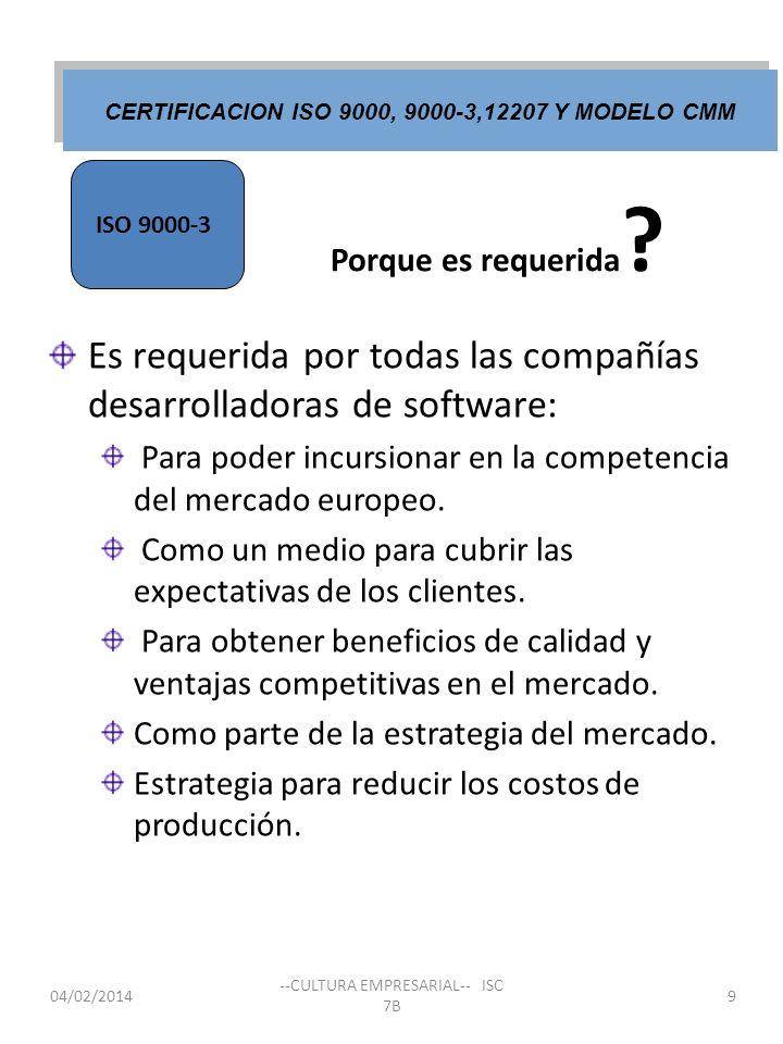 Porque es requerida ? Es requerida por todas las compañías desarrolladoras de software: Para poder incursionar en la competencia del mercado europeo.
