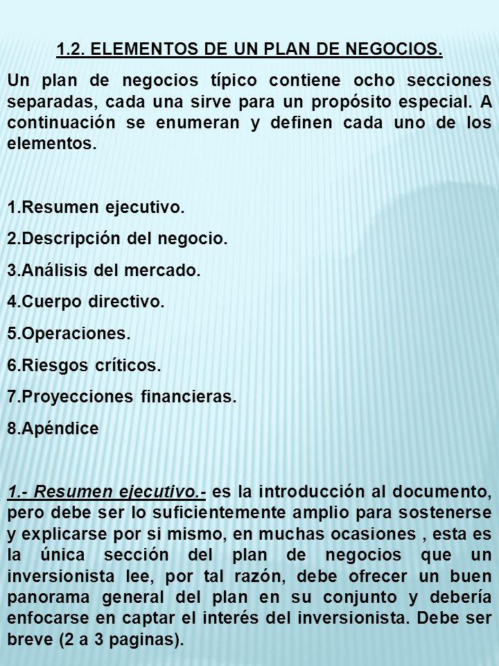 1.2. ELEMENTOS DE UN PLAN DE NEGOCIOS. Un plan de negocios típico contiene ocho secciones separadas, cada una sirve para un propósito especial. A cont