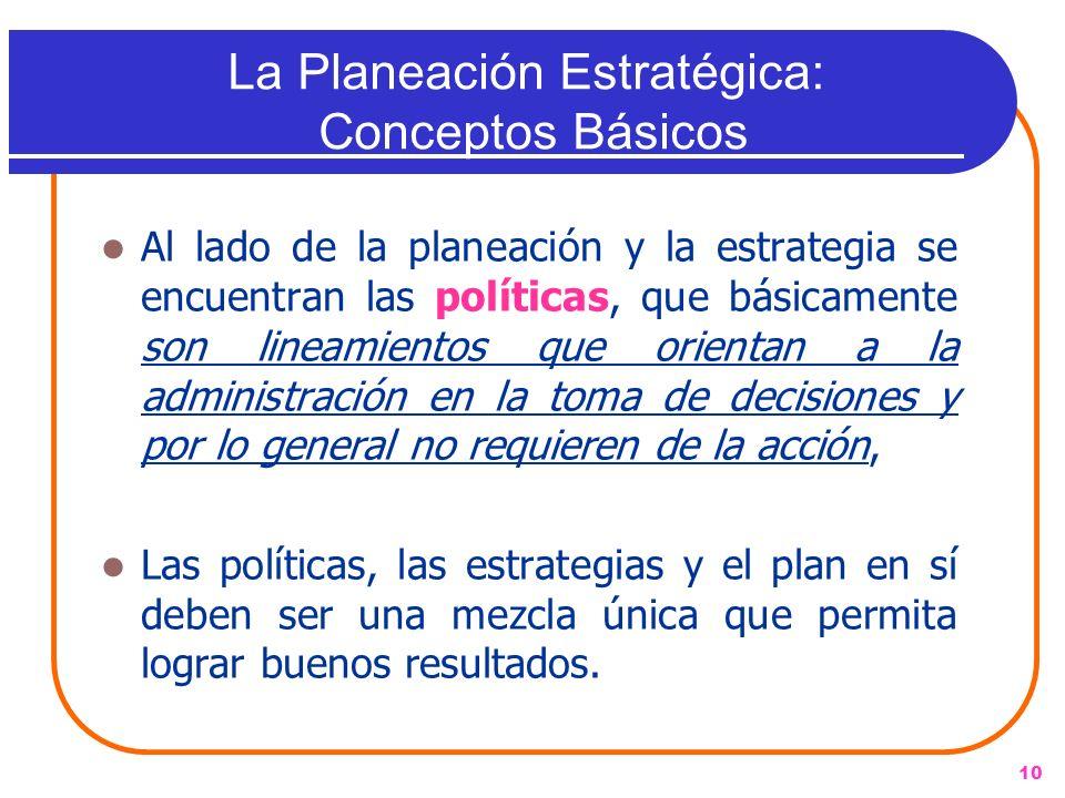 10 Al lado de la planeación y la estrategia se encuentran las políticas, que básicamente son lineamientos que orientan a la administración en la toma