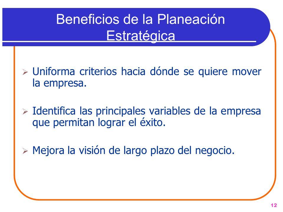 12 Beneficios de la Planeación Estratégica Uniforma criterios hacia dónde se quiere mover la empresa. Identifica las principales variables de la empre