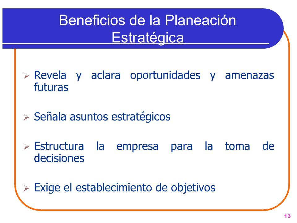 13 Beneficios de la Planeación Estratégica Revela y aclara oportunidades y amenazas futuras Señala asuntos estratégicos Estructura la empresa para la