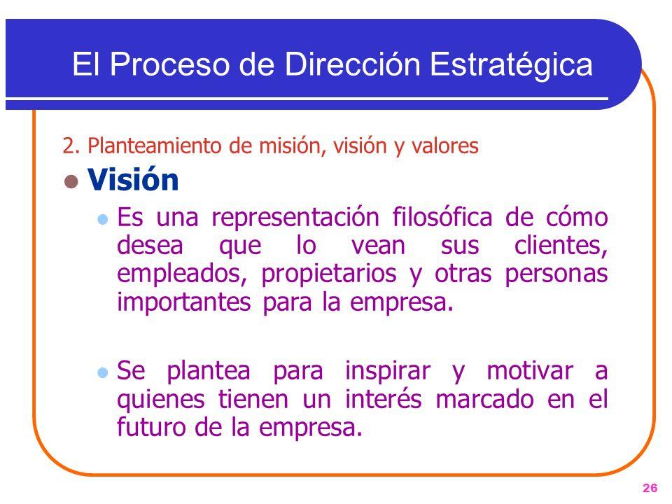26 2. Planteamiento de misión, visión y valores Visión Es una representación filosófica de cómo desea que lo vean sus clientes, empleados, propietario