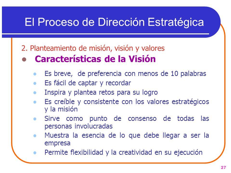 27 2. Planteamiento de misión, visión y valores Características de la Visión Es breve, de preferencia con menos de 10 palabras Es fácil de captar y re