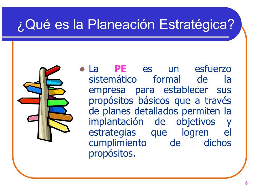 3 ¿Qué es la Planeación Estratégica? La PE es un esfuerzo sistemático formal de la empresa para establecer sus propósitos básicos que a través de plan