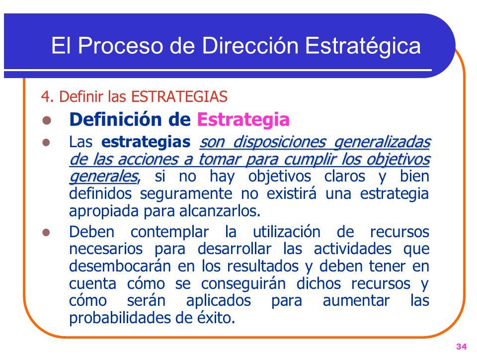34 4. Definir las ESTRATEGIAS Definición de Estrategia son disposiciones generalizadas de las acciones a tomar para cumplir los objetivos generales La