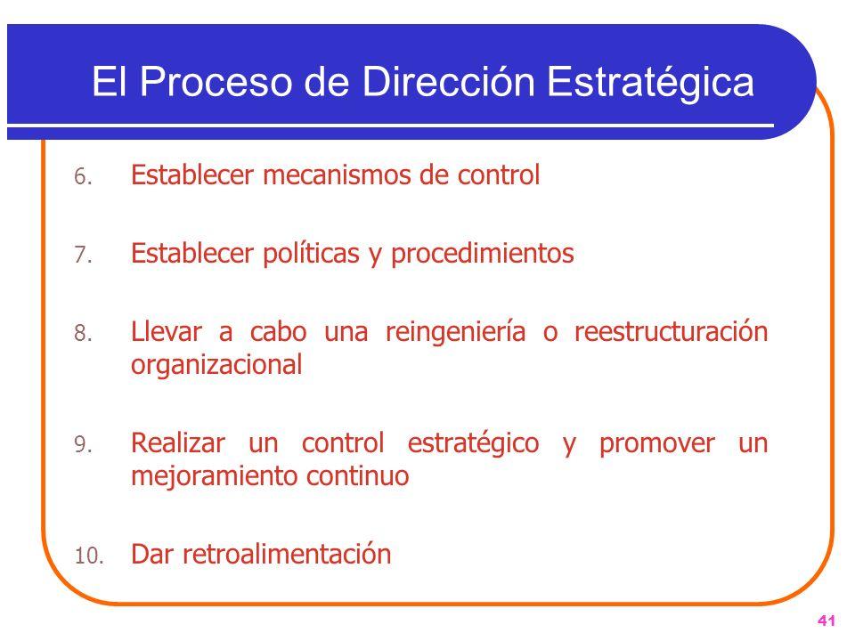 41 El Proceso de Dirección Estratégica 6. Establecer mecanismos de control 7. Establecer políticas y procedimientos 8. Llevar a cabo una reingeniería