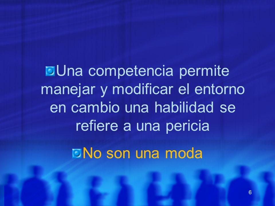 6 Una competencia permite manejar y modificar el entorno en cambio una habilidad se refiere a una pericia No son una moda
