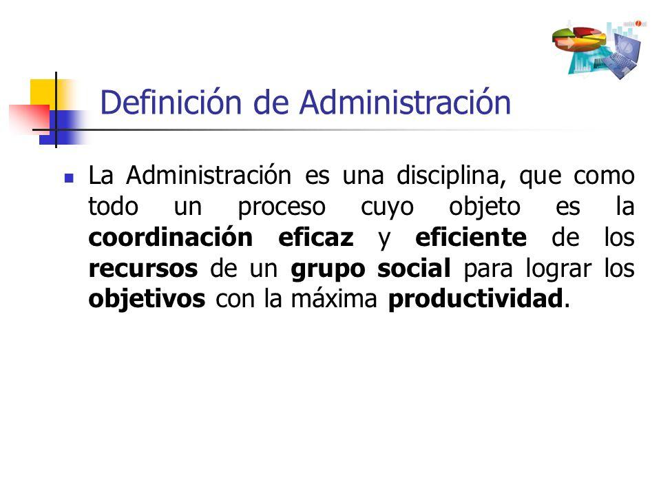 La Administración es una disciplina, que como todo un proceso cuyo objeto es la coordinación eficaz y eficiente de los recursos de un grupo social par