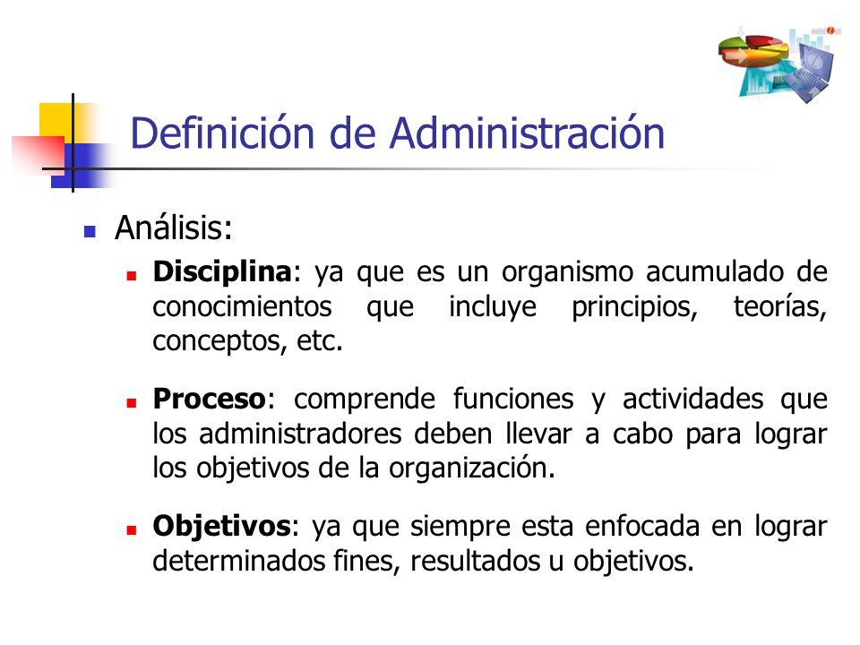 Análisis: Disciplina: ya que es un organismo acumulado de conocimientos que incluye principios, teorías, conceptos, etc. Proceso: comprende funciones