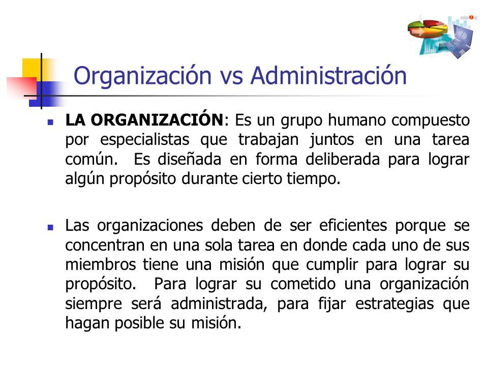 LA ORGANIZACIÓN: Es un grupo humano compuesto por especialistas que trabajan juntos en una tarea común. Es diseñada en forma deliberada para lograr al