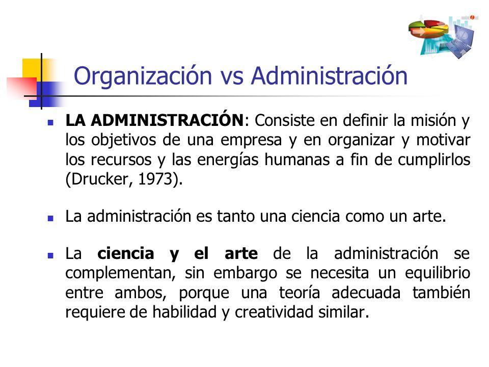 LA ADMINISTRACIÓN: Consiste en definir la misión y los objetivos de una empresa y en organizar y motivar los recursos y las energías humanas a fin de