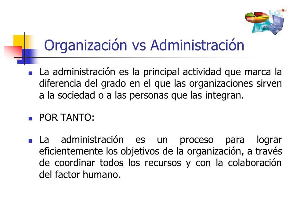 La administración es la principal actividad que marca la diferencia del grado en el que las organizaciones sirven a la sociedad o a las personas que l
