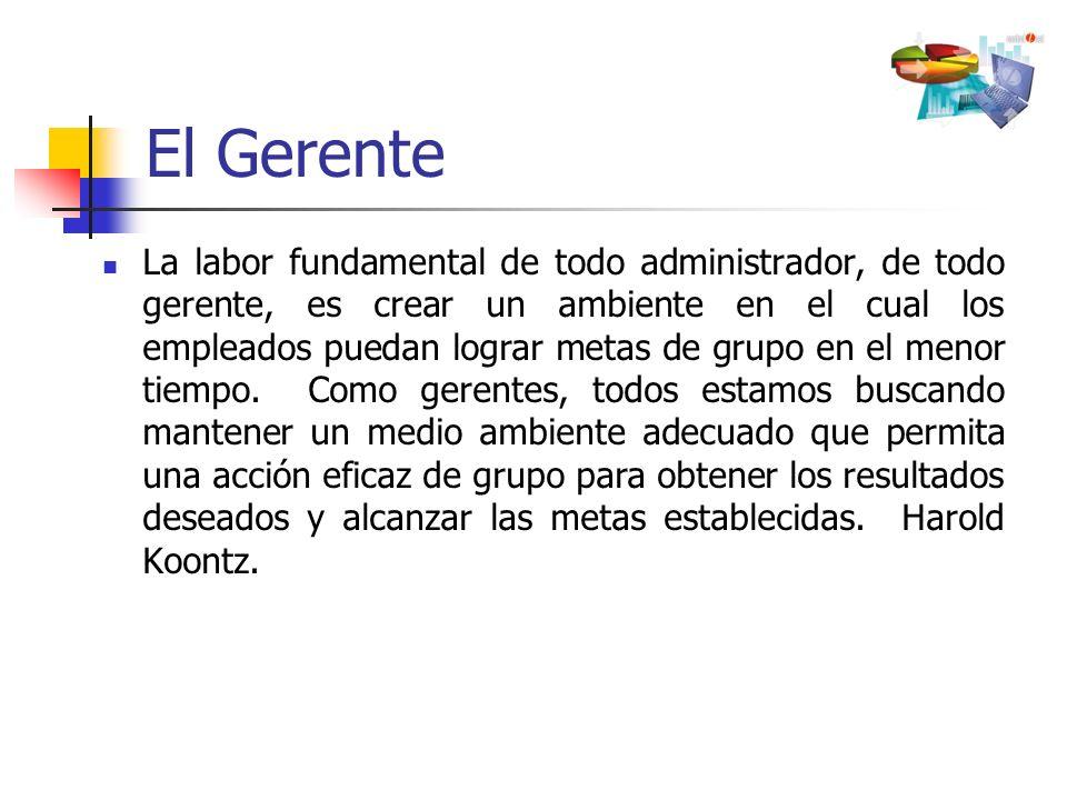 El Gerente La labor fundamental de todo administrador, de todo gerente, es crear un ambiente en el cual los empleados puedan lograr metas de grupo en
