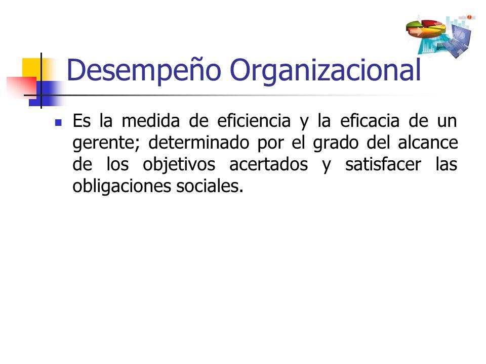 Desempeño Organizacional Es la medida de eficiencia y la eficacia de un gerente; determinado por el grado del alcance de los objetivos acertados y sat
