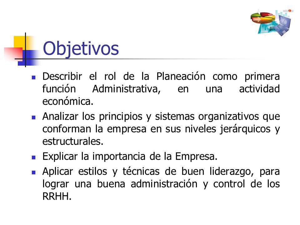 Describir el rol de la Planeación como primera función Administrativa, en una actividad económica. Analizar los principios y sistemas organizativos qu