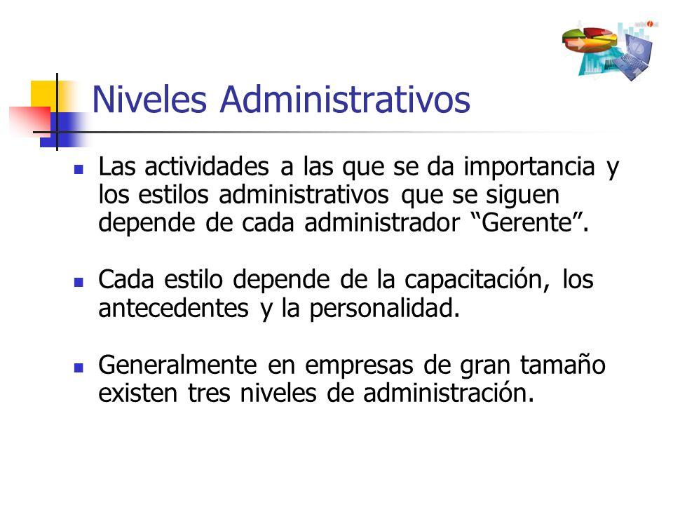 Niveles Administrativos Las actividades a las que se da importancia y los estilos administrativos que se siguen depende de cada administrador Gerente.