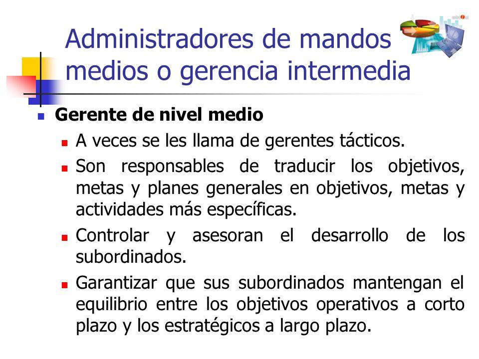 Administradores de mandos medios o gerencia intermedia Gerente de nivel medio A veces se les llama de gerentes tácticos. Son responsables de traducir