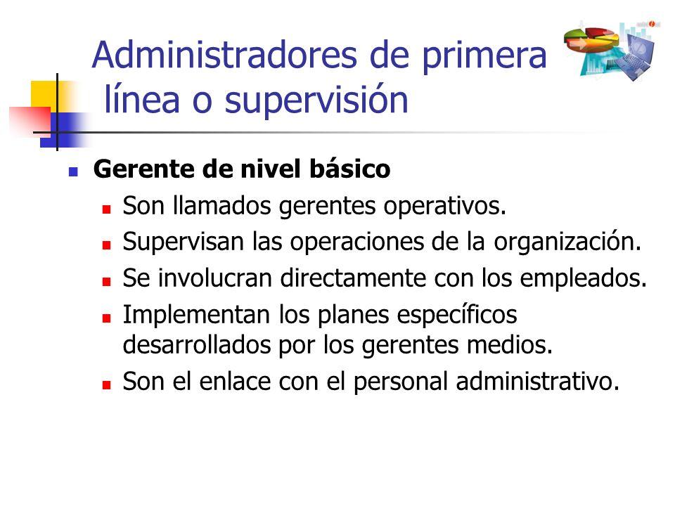 Administradores de primera línea o supervisión Gerente de nivel básico Son llamados gerentes operativos. Supervisan las operaciones de la organización