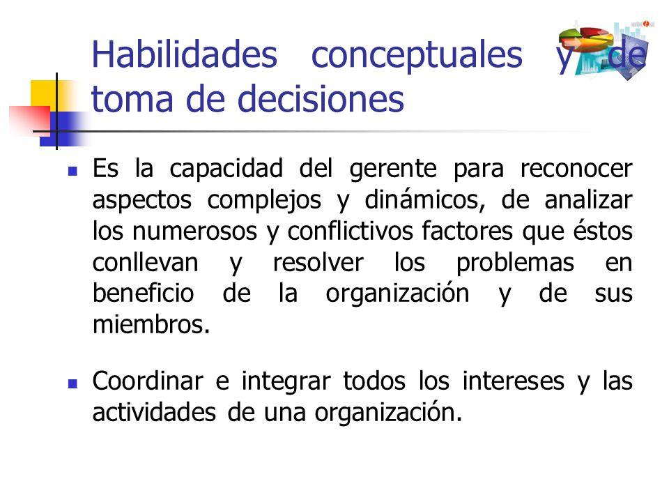 Habilidades conceptuales y de toma de decisiones Es la capacidad del gerente para reconocer aspectos complejos y dinámicos, de analizar los numerosos