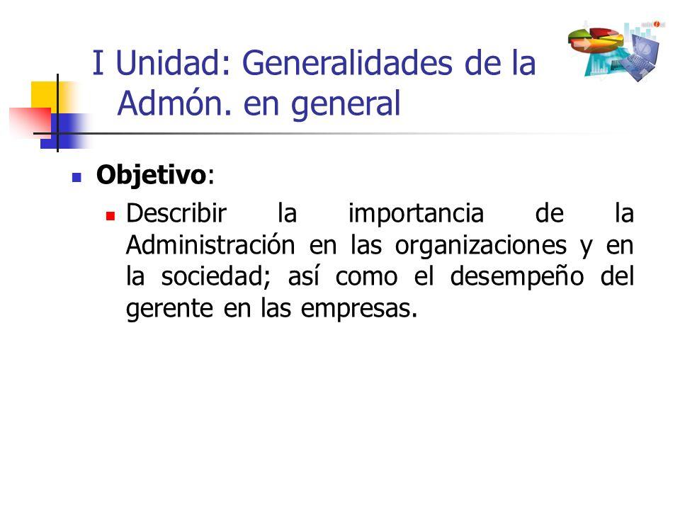 Objetivo: Describir la importancia de la Administración en las organizaciones y en la sociedad; así como el desempeño del gerente en las empresas. I U
