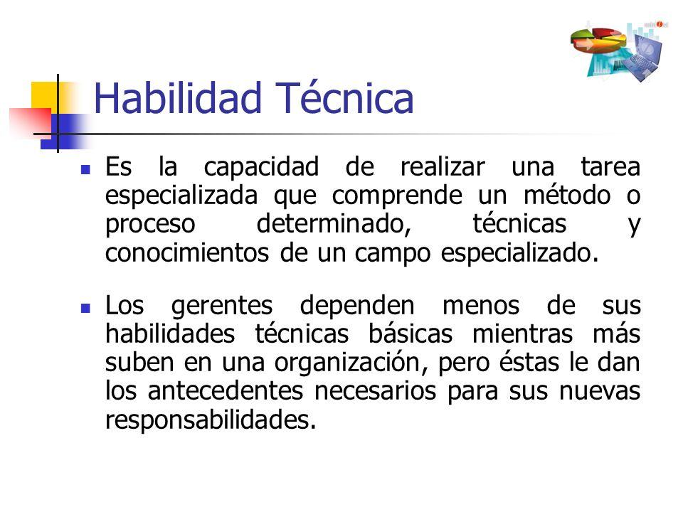 Habilidad Técnica Es la capacidad de realizar una tarea especializada que comprende un método o proceso determinado, técnicas y conocimientos de un ca