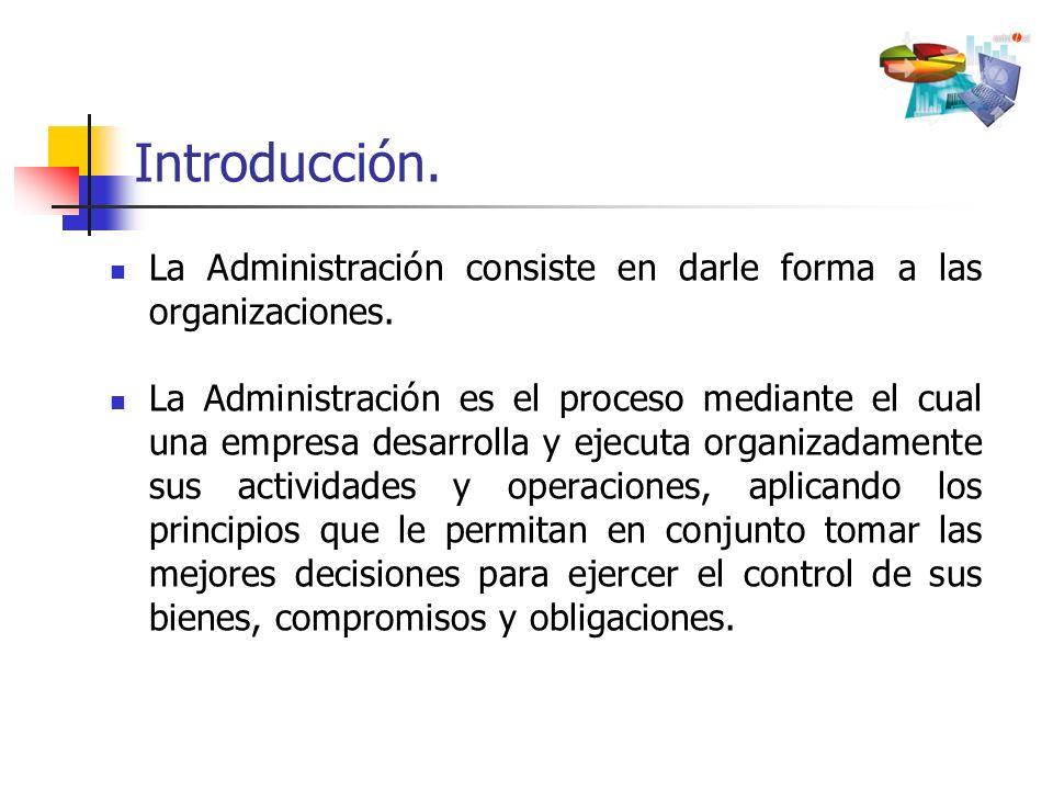 La Administración consiste en darle forma a las organizaciones. La Administración es el proceso mediante el cual una empresa desarrolla y ejecuta orga