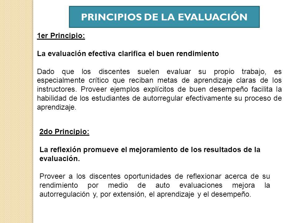 1er Principio: La evaluación efectiva clarifica el buen rendimiento Dado que los discentes suelen evaluar su propio trabajo, es especialmente crítico