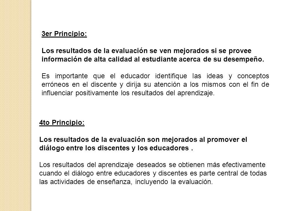 3er Principio: Los resultados de la evaluación se ven mejorados si se provee información de alta calidad al estudiante acerca de su desempeño. Es impo