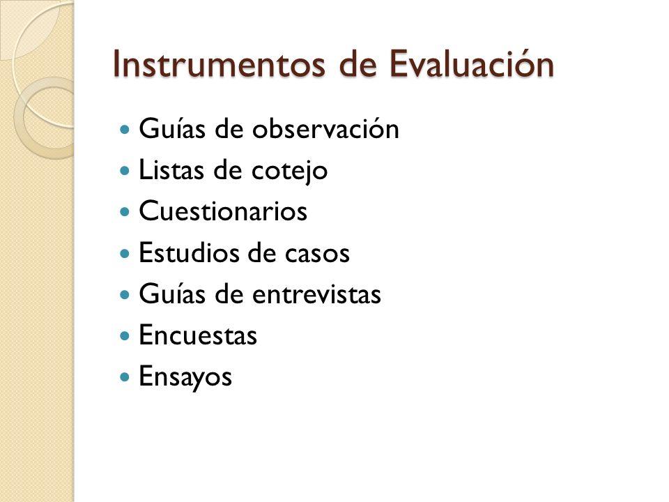 Instrumentos de Evaluación Guías de observación Listas de cotejo Cuestionarios Estudios de casos Guías de entrevistas Encuestas Ensayos