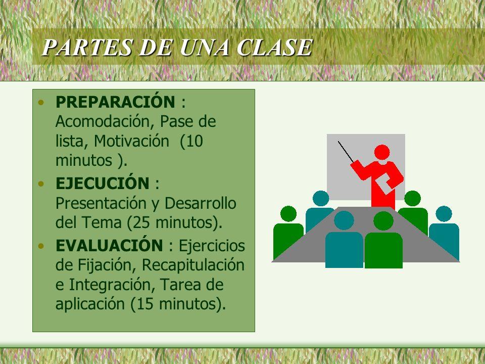 PARTES DE UNA CLASE PREPARACIÓN : Acomodación, Pase de lista, Motivación (10 minutos ). EJECUCIÓN : Presentación y Desarrollo del Tema (25 minutos). E