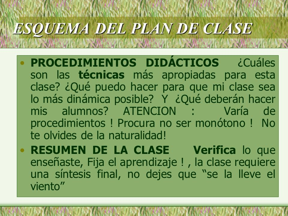 ESQUEMA DEL PLAN DE CLASE TEMA DE REFLEXION O TAREA.