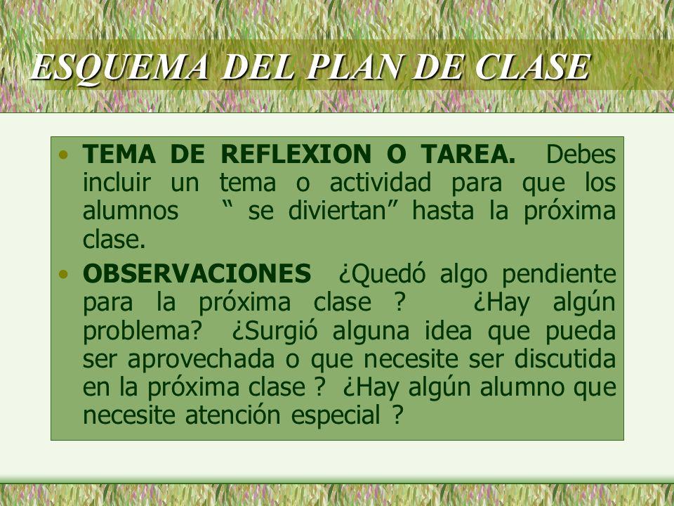 ESQUEMA DEL PLAN DE CLASE TEMA DE REFLEXION O TAREA. Debes incluir un tema o actividad para que los alumnos se diviertan hasta la próxima clase. OBSER