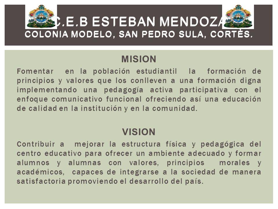 MISION Fomentar en la población estudiantil la formación de principios y valores que los conlleven a una formación digna implementando una pedagogía a