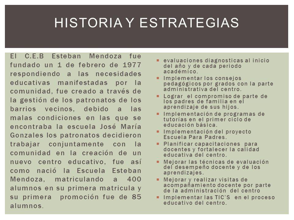 El C.E.B Esteban Mendoza fue fundado un 1 de febrero de 1977 respondiendo a las necesidades educativas manifestadas por la comunidad, fue creado a tra