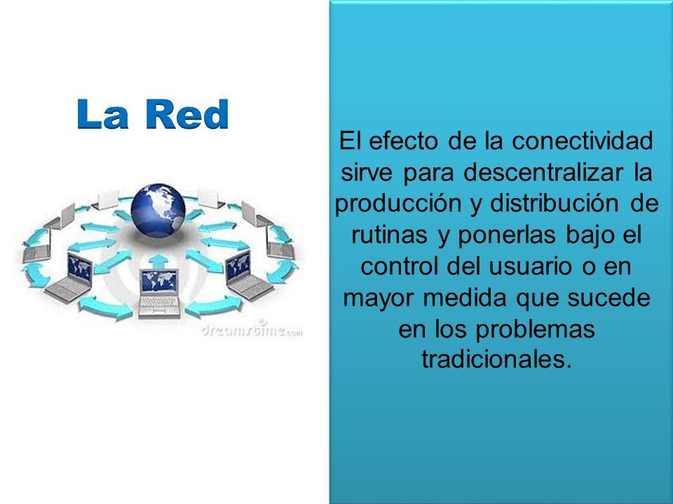 El efecto de la conectividad sirve para descentralizar la producción y distribución de rutinas y ponerlas bajo el control del usuario o en mayor medid