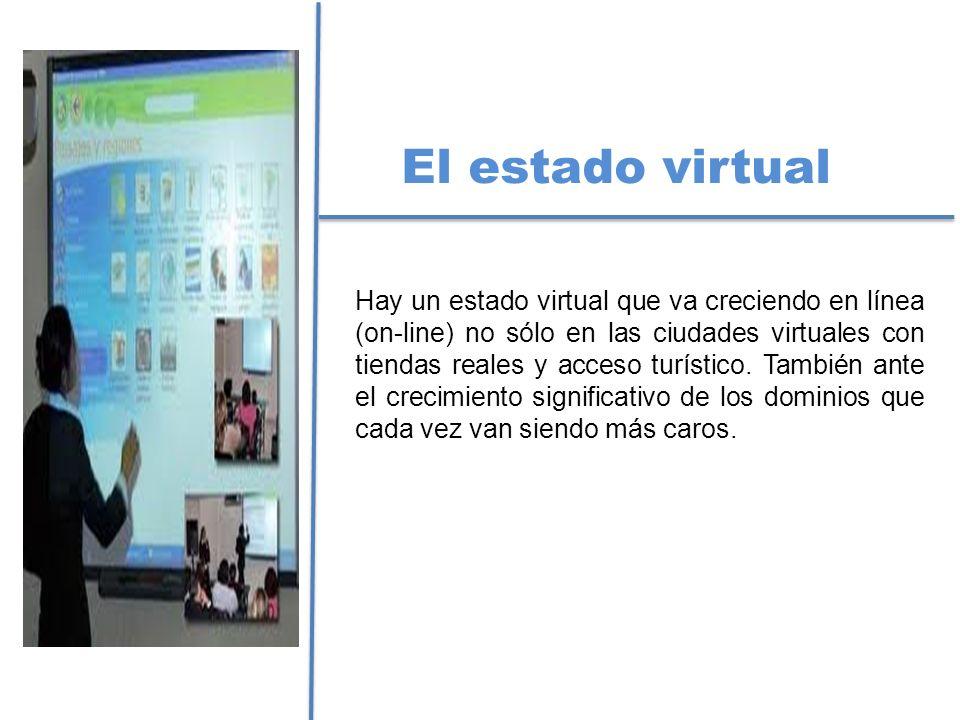 El estado virtual Hay un estado virtual que va creciendo en línea (on-line) no sólo en las ciudades virtuales con tiendas reales y acceso turístico. T
