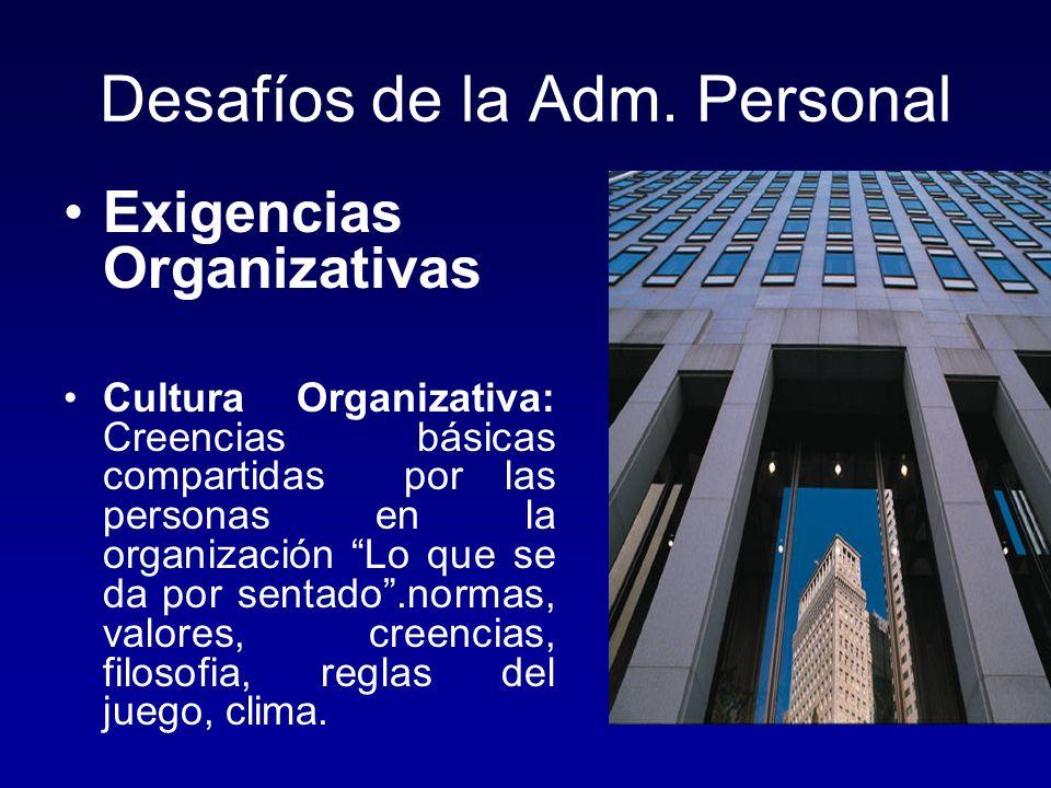 Desafíos de la Adm. Personal Exigencias Organizativas Cultura Organizativa: Creencias básicas compartidas por las personas en la organización Lo que s